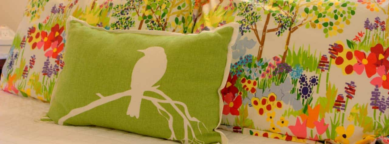 bird with patterned pillow