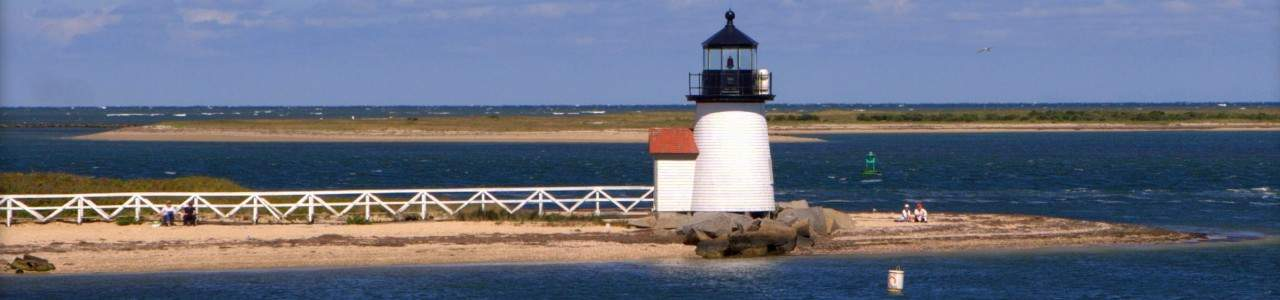 Picture of the lighthouse in Nantucket Harbor.