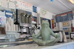 Yogi on the counter at Four Seas Ice Cream.