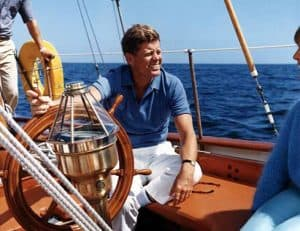 Picture of JFK on his sailboat.