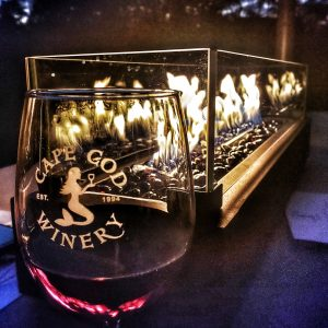 Cape Cod Winery Wine Glass and Fire Pit